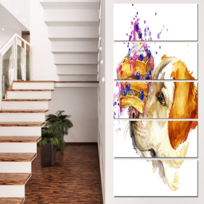 Designart Cute Labrador Dog Watercolor Animal Canvas Wall Art - 4 Panels