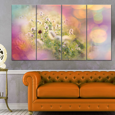 Cute Little Summer Flowers Large Flower Canvas Wall Art - 4 Panels