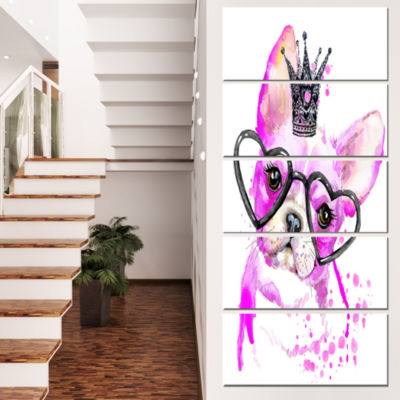 Designart Cute Pink Dog With Heart Glasses Contemporary Animal Art Canvas - 5 Panels