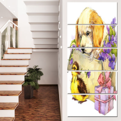 Designart Cute Puppy Dog And Duck Contemporary Animal Art Canvas - 4 Panels