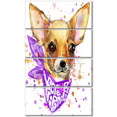 Cute Puppy Dog With Neck Shawl Contemporary AnimalArt Canvas - 4 Panels