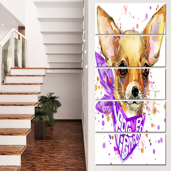 Designart Cute Puppy Dog With Neck Shawl Contemporary AnimalArt Canvas - 4 Panels