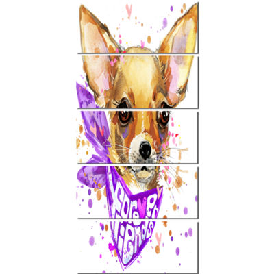 Designart Cute Puppy Dog With Neck Shawl Contemporary AnimalArt Canvas - 5 Panels