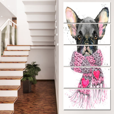Designart Cute Puppy Dog With Pink Shawl Animal Canvas WallArt - 5 Panels