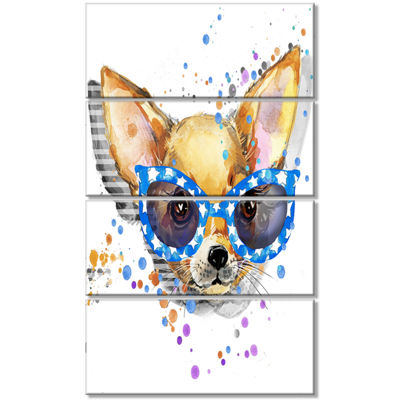 Designart Cute Puppy With Blue Glasses Animal Canvas Wall Art - 4 Panels