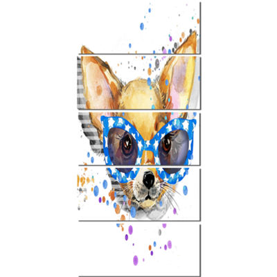 Designart Cute Puppy With Blue Glasses Animal Canvas Wall Art - 5 Panels