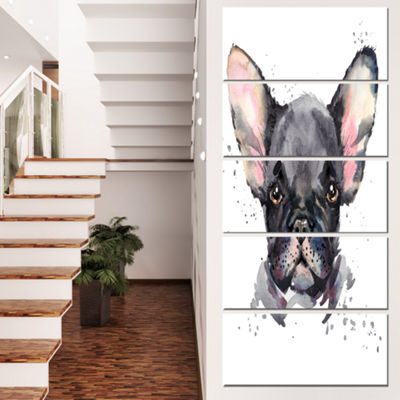 Designart Cute Watercolor Puppy Dog Animal CanvasWall Art -5 Panels