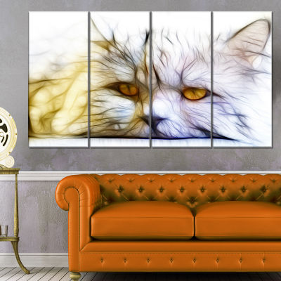 Cute White Cat Fractal Illustration Animal CanvasArt Print - 4 Panels