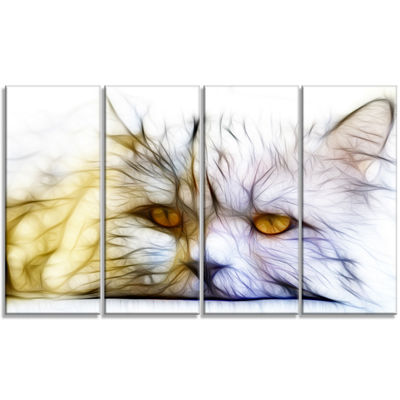 Designart Cute White Cat Fractal Illustration Animal Canvas Art Print - 4 Panels
