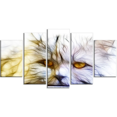 Designart Cute White Cat Fractal Illustration Animal Wrapped Canvas Art Print - 5 Panels