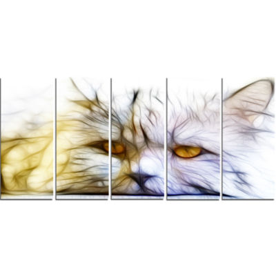 Cute White Cat Fractal Illustration Animal CanvasArt Print - 5 Panels