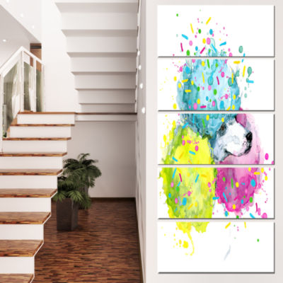 Designart Cute White Dog With Color Spheres Contemporary Animal Art Canvas - 5 Panels