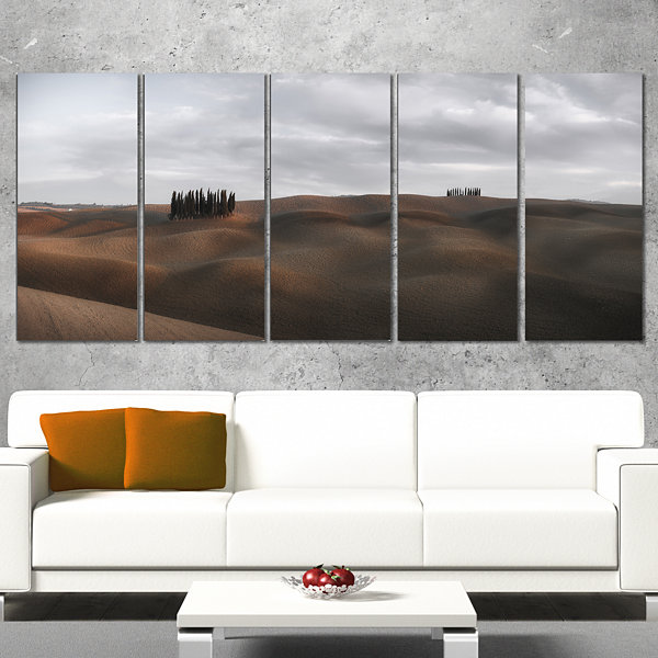 Designart Cypress Grove At The Field Panorama Landscape Wrapped Canvas Art Print - 5 Panels