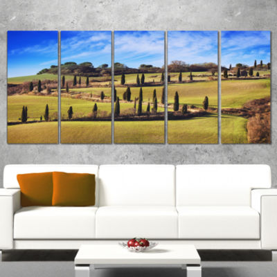 Cypress Trees Scenic Road Siena Italy Oversized Landscape Wall Art Print - 4 Panels