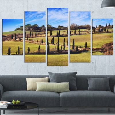 Cypress Trees Scenic Road Siena Italy Oversized Landscape Wrapped Wall Art Print - 5 Panels