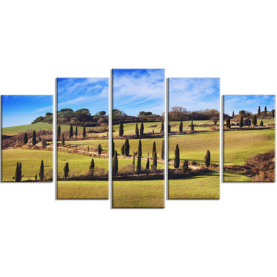 Designart Cypress Trees Scenic Road Siena Italy Oversized Landscape Wrapped Wall Art Print - 5 Panels