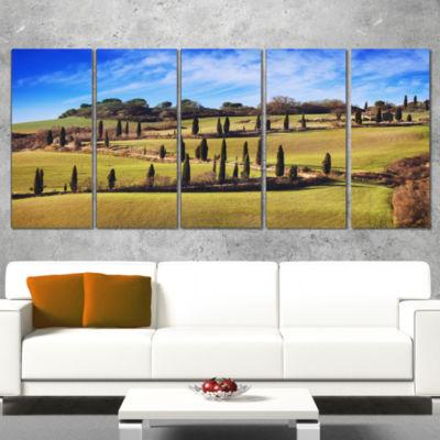 Designart Cypress Trees Scenic Road Siena Italy Oversized Landscape Wall Art Print - 5 Panels
