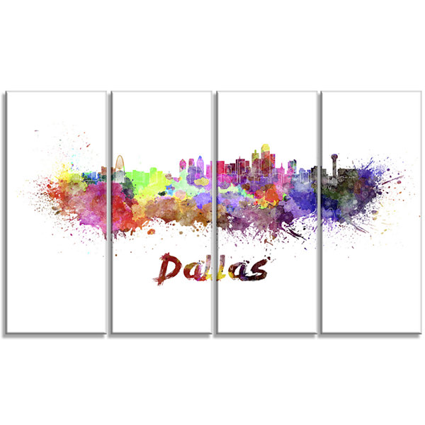 Designart Dallas Skyline Cityscape Canvas ArtworkPrint - 4 Panels