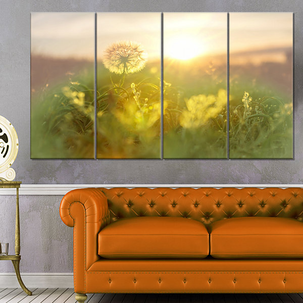 Design Art Dandelion Blooming Flower In Field Floral Canvas Art Print - 4 Panels