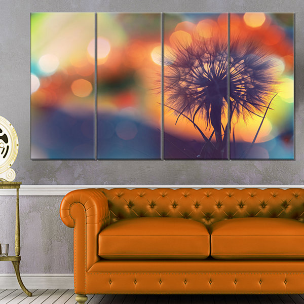Designart Dandelion Flower On Orange Background Floral Canvas Art Print - 4 Panels