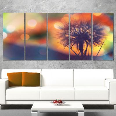 Dandelion Flower On Orange Background Floral Canvas Art Print - 5 Panels