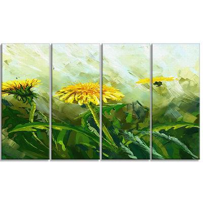Designart Dandelion Flowers Floral Canvas Wall Art- 4 Panels