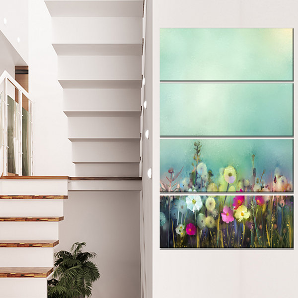 Designart Dandelion Poppy And Daisy Flowers FloralCanvas Art Print - 4 Panels