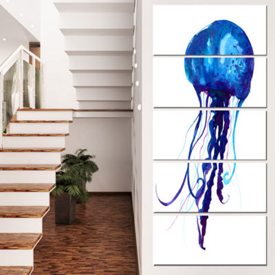 Designart Dark Blue Jellyfish Watercolor Animal Canvas Art Print - 5 Panels