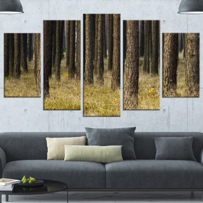 Designart Dark Fall Forest With Green Grass ModernForest Wrapped Canvas Art - 5 Panels