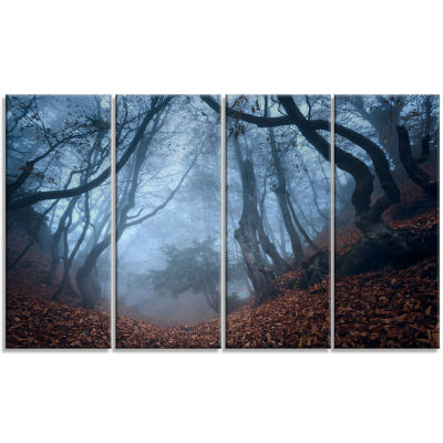 Dark Foggy Fall Forest In Crimea Landscape Photography Canvas Print - 4 Panels