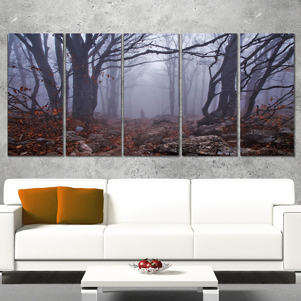 Designart Dark Foggy Forest In Autumn Landscape PhotographyCanvas Print - 4 Panels