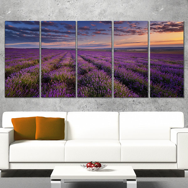 Designart Dark Lavender Field With Cloudy Sky Floral Canvas Art Print - 4 Panels