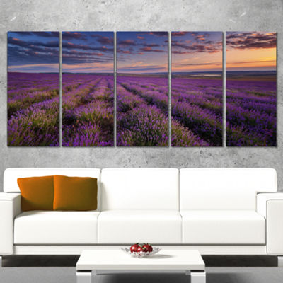Designart Dark Lavender Field With Cloudy Sky Floral Canvas Art Print - 5 Panels