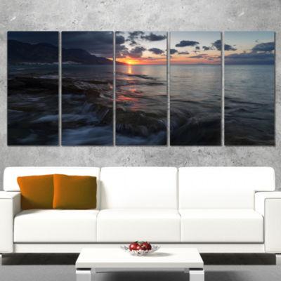 Designart Dark Mediterranean Beach Dawn Modern Seashore Canvas Art - 4 Panels
