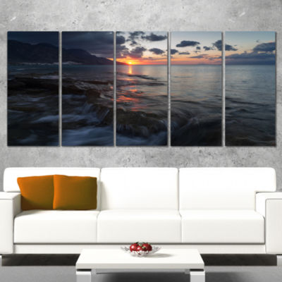 Designart Dark Mediterranean Beach Dawn Modern Seashore Wrapped Canvas Art - 5 Panels