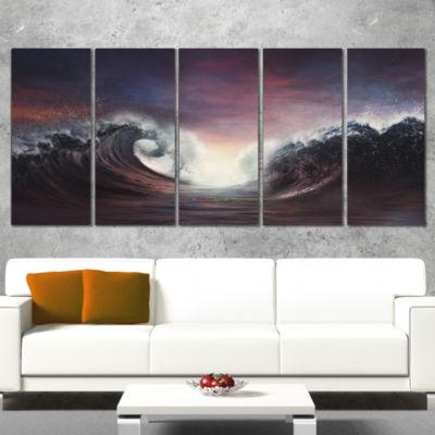 Designart Dark Parting Ocean With Colorful CloudsSeascape Canvas Art Print - 4 Panels