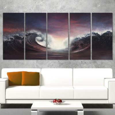 Dark Parting Ocean With Colorful Clouds Seascape Wrapped Canvas Art Print - 5 Panels