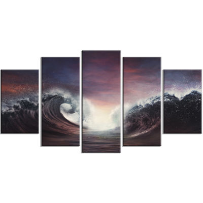 Designart Dark Parting Ocean With Colorful CloudsSeascape Wrapped Canvas Art Print - 5 Panels