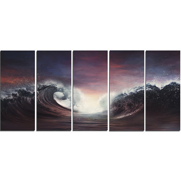 Designart Dark Parting Ocean With Colorful CloudsSeascape Canvas Art Print - 5 Panels