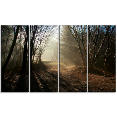 Designart Dark Path In Fall Foggy Forest LandscapePhotography Canvas Print - 4 Panels