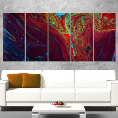 Designart Dark Red Abstract Acrylic Paint Mix Abstract Art On Canvas - 5 Panels