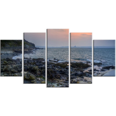 Dark Rocky Seashore Sunrise Extra Large Seashore Wrapped Canvas Art - 5 Panels