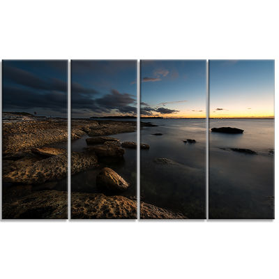Dark Sydney Coastline Seascape Canvas Art Print -4 Panels
