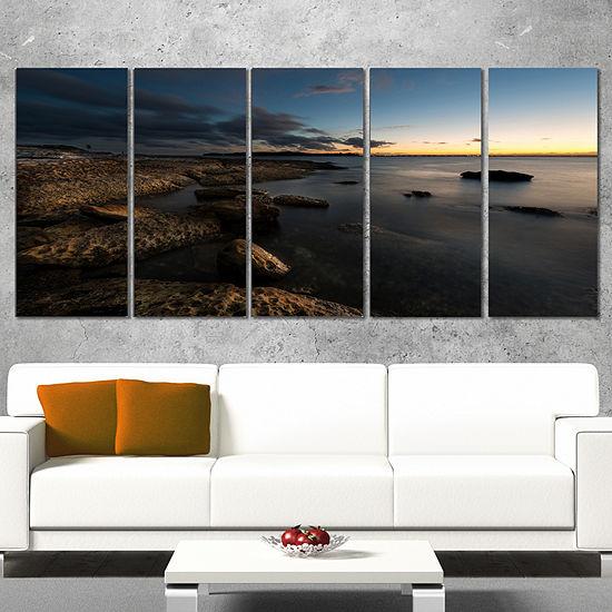 Designart Dark Sydney Coastline Seascape WrappedCanvas Art Print - 5 Panels