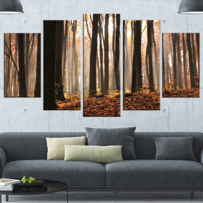 Designart Dark Thick Woods In Fall Forest ModernForest Canvas Art - 5 Panels