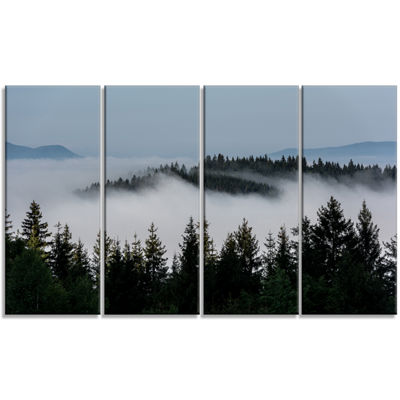 Designart Dark Trees And Fog Over Mountains Landscape Canvas Art Print - 4 Panels