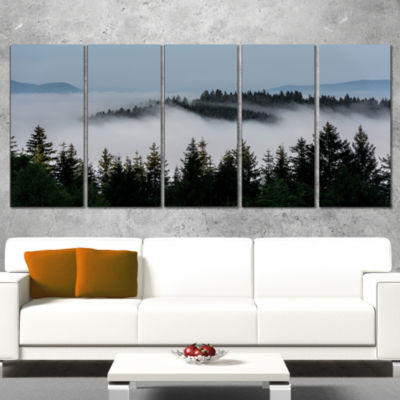 Design Art Dark Trees And Fog Over Mountains Landscape Wrapped Canvas Art Print - 5 Panels