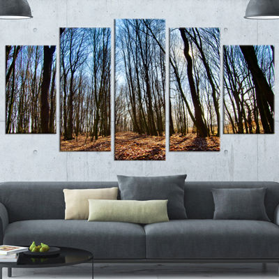 Designart Dark Trees In Forest At Sunrise ForestWrapped Canvas Art Print - 5 Panels