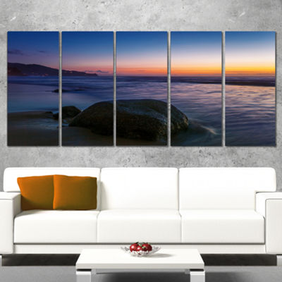 Designart Dark Tropical Seashore In Evening ExtraLarge Seascape Art Wrapped Canvas - 5 Panels