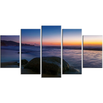 Dark Tropical Seashore In Evening Extra Large Seascape Art Wrapped Canvas - 5 Panels